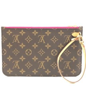 Neverfull Pochette Brown Monogram Canvas Clutch